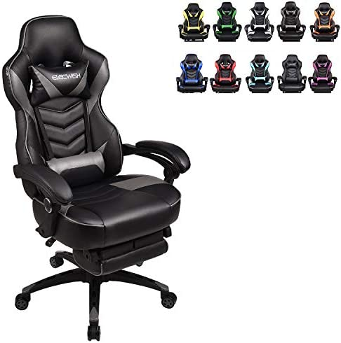 ELECWISH Racing Video Gaming Chair High Back Large Size Ergonomic Adjustable Swivel Reclining Executive Computer Chair