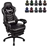 Racing Video Gaming Chair High Back Large Size Ergonomic Adjustable Swivel Reclining Executive Computer Chair with Headrest and Lumbar Support PU Leather Executive Office Chair Grey