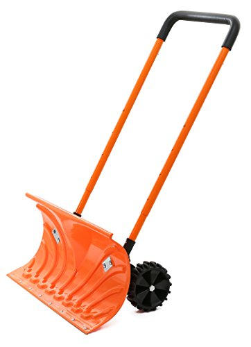 Snow Plow Shovel Pusher with Wheels – Snow Removal Tools for Driveway as a Heavy Duty Wheeled Rolling Snow Pusher to Clear the Snow on Driveway Sidewalk or Slippery Roads Effortlessly