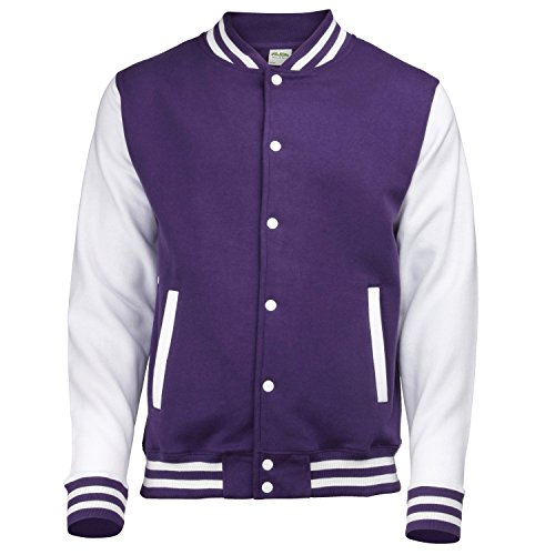 AWDis Hoods Varsity Letterman jacket Purple / White S (Letterman Jackets With Hood compare prices)
