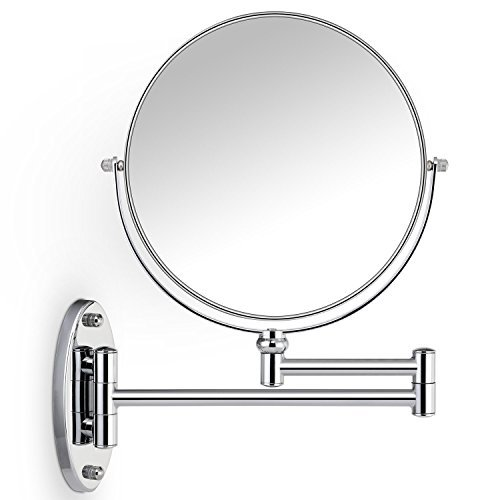 (Cosprof Bathroom Mirror 10X/1X Magnification Double-sided 8 Inch Wall Mounted Vanity Magnifying Mirror Swivel, Extendable and Chrome Finished)