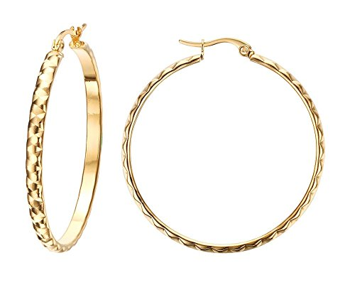 14k Gold Rope Hoop Earrings - Vnox Fashion Stainless Steel 18K Gold Plated Large Hoop Wedding Earrings for Women Girls