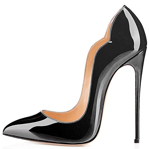 High Pointed Heel Stiletto (Kmeioo Stiletto Pumps, Women's Pointed Toe High Heels Evening Party Dress Shoes Classic Slip On Pumps-Black 11 M US)