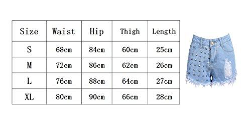 Haute Casual Mode en Pantalons Mini Pantalons Jean Juqilu Denim t Femme Ripped Sexy Shorts 2 Taille Rivet pour Unie XL S Courtes Couleur Perle wYdZzxnqF