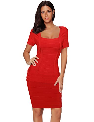 Red Square Neck Dress (Meilun Women's Rayon Short Sleeve Square Neck Bandage Dress Medium Red)