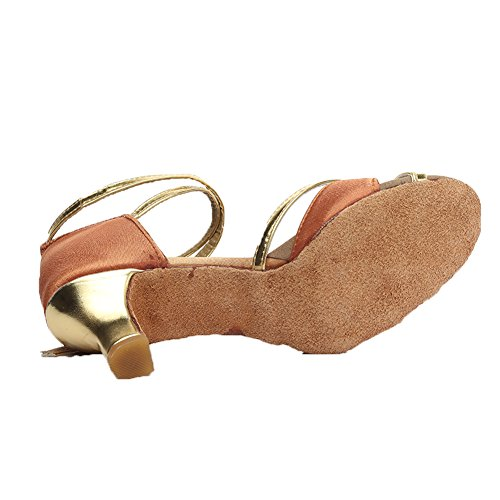 Hroyl Marrón Baile Salón Latino Mujer Cordón Zapatos 805 Cuero De 1pwvAq1