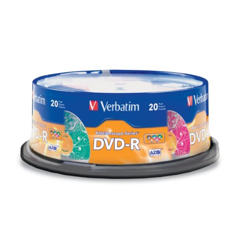 (Verbatim DVD-R 4.7GB 16x  Kaleidoscope Recordable Media Disc - 20 Disc Spindle - Assorted Colors)