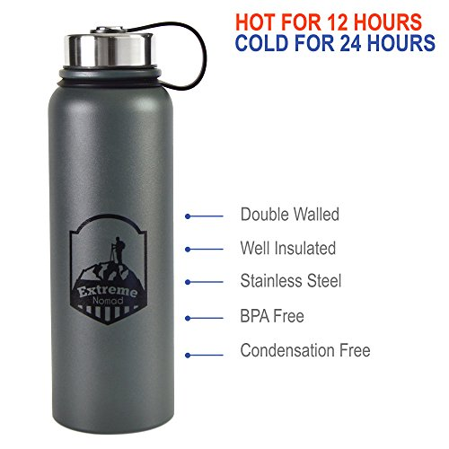 Stainless Steel Water Bottle -- 40 oz Wide Mouth -- Double Walled Vacuum Insulated -- BPA Free (Charcoal, 40 (Marker Ss Band)