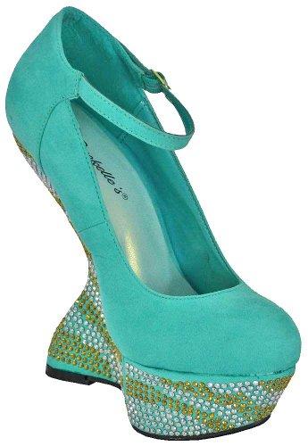 MINT Less Shanon Shoes Heel Rhinestone 03 Breckelle Mint Wedge Platform x8qwa7