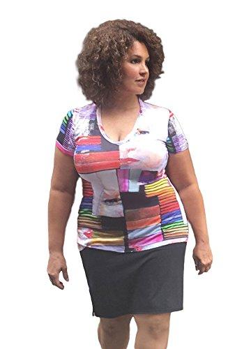 TD New York Curvy Plus Size Top GRAFFITI GIRL Printed T-Shirt, size 1X