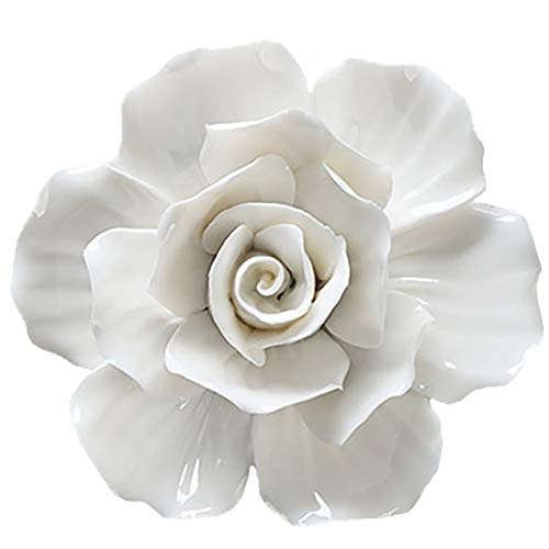 ALYCASO 3D Rose Wall Flower Decoration for Living Room Bedroom Hanging Ceramic Flower Pediments Sculpture, White, 4.33 inch
