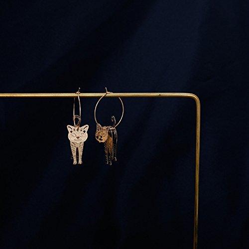 usongs Man Kwai custom big cat earrings three-dimensional shaking hands as a transparent bead earrings splicing can shake ear ring ear clip