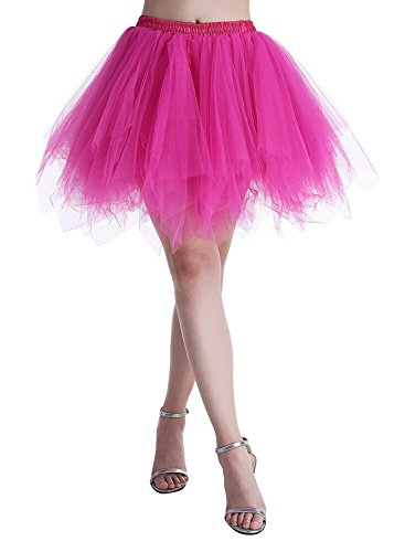 Adult Women 80's Plus Size Tutu Skirt Layered Tulle Petticoat Halloween Tutu Rose (Tutu Rose Halloween)