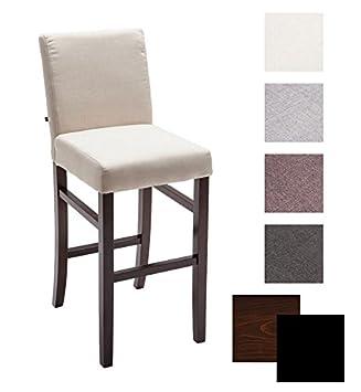 CLP Chaise De Bar En Bois ALVIN Tissu Design Classique Avec Pietement Et Repose Pied