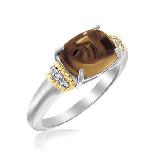 18K Yellow Gold & Sterling Silver Polished Oval Smokey Quartz Ring (Ring Smokey Quartz Oval)