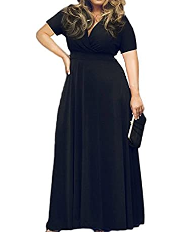 e46f9503bd5a HWOKEFEIYU Women Short Sleeve Loose Plain Casual Plus Size Long Maxi Dress