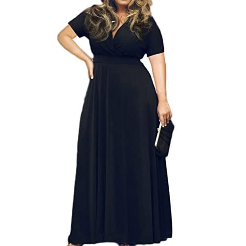POSESHE Women\'s Solid V-Neck Short Sleeve Plus Size Evening Party Maxi  Dress - Women Dresses Online