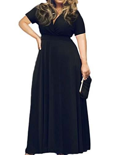 - POSESHE Women's Solid V-Neck Short Sleeve Plus Size Evening Party Maxi Dress Black L