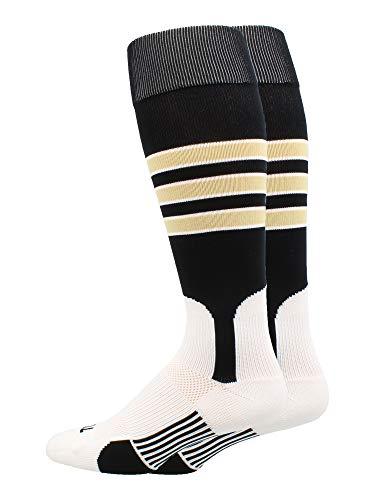 - MadSportsStuff Baseball Stirrup Socks 3 Stripe (Black/Vegas Gold/White, Small)