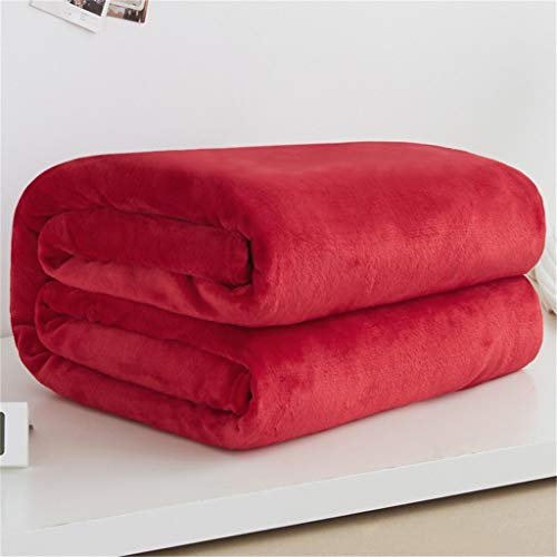 Nesee Warm Soft Sofa Blanket Flannel Breathable Solid Color Plush Microfiber Home Office Air Conditioning for Office Travel Sofa (Best Way To Clean Microfiber Sofa)