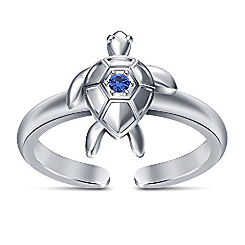 Round Cut Blue Sapphire Sea Turtle Engagement Toe Ring in 925 Sterling Silver Over