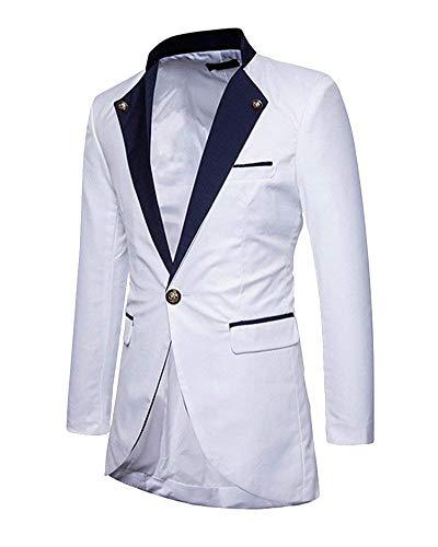 Vestes Longues Veste De Mode Hommes Vintage Marque Manches Mariage Élégant Fit Smoking Blazer Pour Costume Slim Blanc tq8Oww