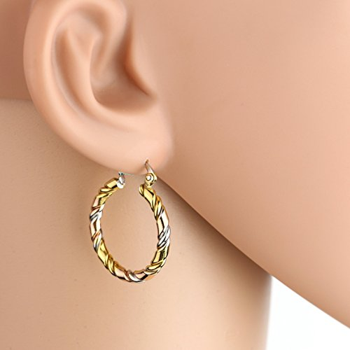 United Elegance - Contemporary Polished Tri-Color Silver, Gold & Rose Tone Hoop Earrings with Spiral Design (Pearl Spiral Bracelet)