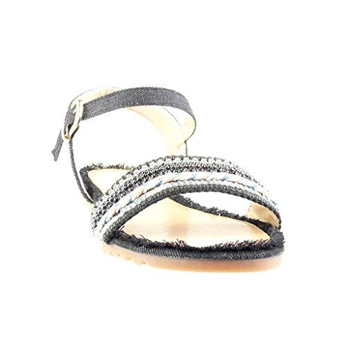 Angkorly - Scarpe da Moda sandali donna tanga lucide multi-briglia Tacco tacco piatto 1 CM - Nero