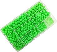 Luminous Glow Fishing Beads,Hard Plastic Round Shaped Fishing Eggs,Assortment Green Sea Fishing Bead Fishing T