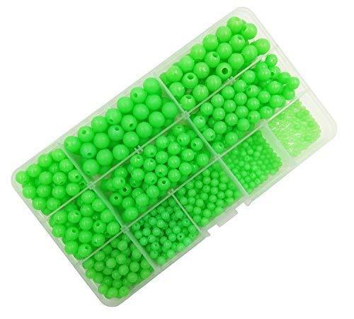 Milepet Luminous Glow Fishing Beads,Hard Plastic Round Shaped Fishing Eggs,Assortment Green Sea Fishing Bead Fishing Tackle Floating Tools Eggs,820pcs/box 10 size by Milepet