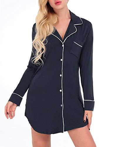 (FISOUL Women's Sexy Long Sleeve Nightshirt Comfy Pajama Top Button Nightie Sleepwear Z-navy,Medium)