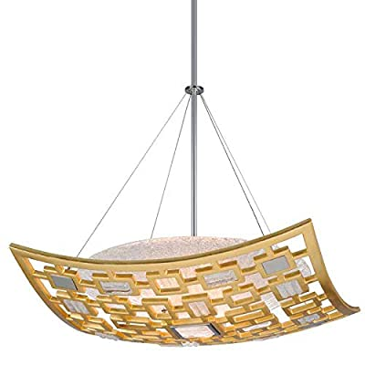 Corbett Lighting 223-43 Motif-26 Pendant-Gold Leaf Finish with Polished Stainless Accents - Clear Handmade Italian Glass