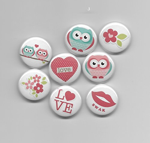 Be My Valentine Owls in Love Scrapbook Embellishments Flat Back Flair Buttons Card Making Crafting - Set of (Flair Scrapbook Paper)