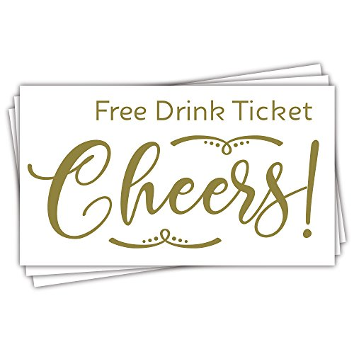 50 Cheers Free Drink Tickets - Party Drink Tickets - Wedding, Corporate Event, Work Party