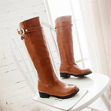 Heart&M Mujer Zapatos Semicuero Invierno Confort Botas de Moda Botas Tacón Bajo Dedo redondo Hasta la Rodilla Para Casual Vestido Negro Marrón black