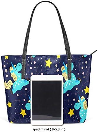 ISAOA Grand sac à main fourre-tout pour voyage, shopping, plage Motif licorne avec étoiles