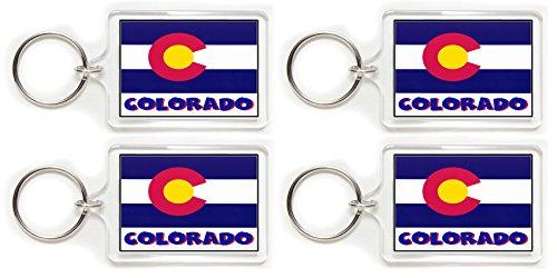 Gary Overton 4 Souvenir Colorado Flag Double Sided Acrylic Key Rings 2 Wholesale Lot (Medium)