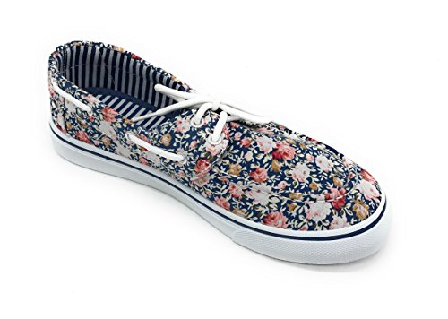 up Oxford Rose Blue Toe Flat Round Shoe Canvas Berry EASY21 Sneaker Blue Prt Boat Women Lace vqUxB0Tq4