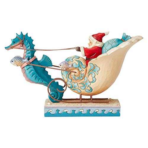 (Enesco Jim Shore Heartwood Creek Coastal Santa in Shell Sleigh Figurine, 6.2