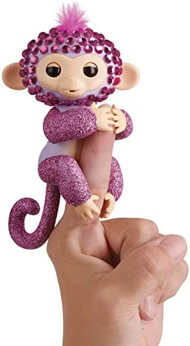 WowWee Fingerlings Monkeys - Fingerblings - Glitz (Purple/Pink) - Friendly Interactive Toy