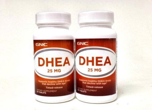 GNC DHEA 25 мг 90 таблеток время выпустила сингл & мульти пакеты (две бутылки каждого из 90 таблеток)