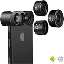 Cell Phone Camera Lens, Jopree 4 in 1 Camera Lens Kit, 20X Macro Lens, 2.0X Zoom Telephoto Lens, 120°Wide Angle Lens, 180°Fisheye Lens for iPhone X/8/7/7 Plus/6s/6s Plus/6/5 & Samsung & Smartphones