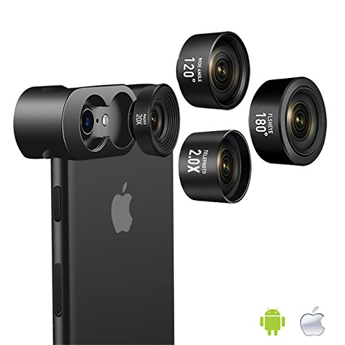 Jopree Cell Phone Camera Lens, 4 in 1 Camera Lens Kit, 20X Macro Lens, 2.0X Zoom Telephoto Lens, 120°Wide Angle Lens, 180°Fisheye Lens for iPhone X/8/7/7 Plus/6s/6s Plus/6/5 & Samsung & Smartphones