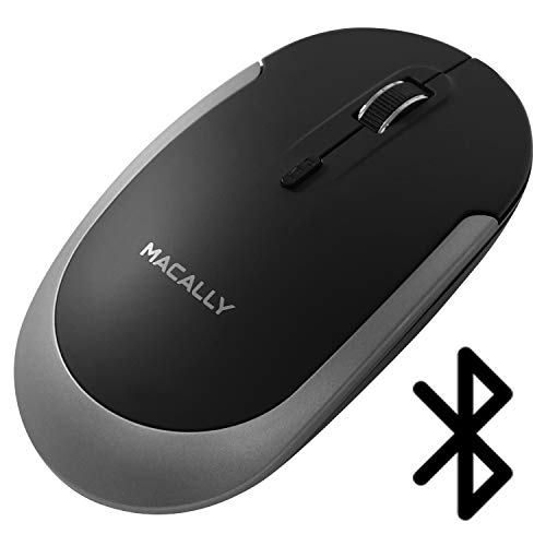 Macally Silent Wireless Bluetooth Mouse for Apple Mac or Windows PC Laptop/Desktop Computer | Slim & Compact Mice Design with Optical Sensor & DPI Switch 800/1200/1600 | Small for Easy Travel, Black