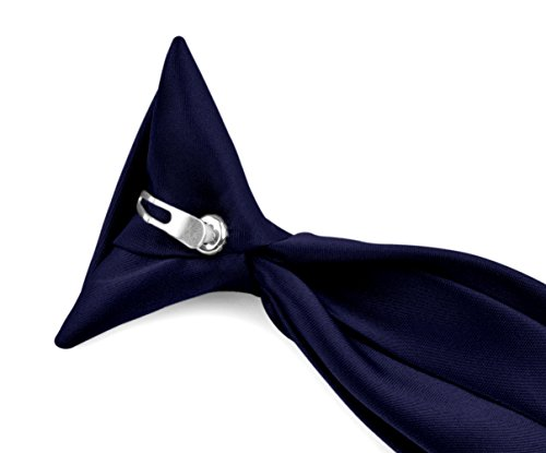 Moda Di Raza - Boy's Modern Formal Solid Clip On Tie - Navy Blue/11 -