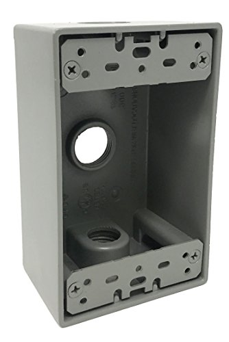 - Sealproof 1-Gang 3 1/2-Inch Holes Weatherproof Rectangular Exterior Electrical Outlet Box with 3 Outlet Holes, Three 1/2