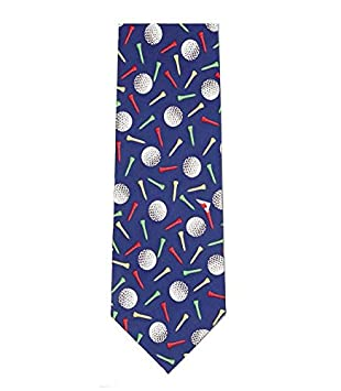 edc8108ffd40 Farm Cottage Brands Navy Blue luxury silk golf tie - adorned with golf  balls and tees: Amazon.co.uk: Toys & Games