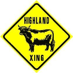 - HIGHLAND CROSSING cattle ranch beef sign
