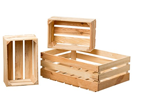 WHW Whole House Worlds Farmers Market Wooden Fruit Crates, Set of 3, Sustainable Fir, Nesting Rectangles, for Display, Storage, and More. 1-23 1/2 x 15 3/4 x 8 3/4 Inches, 2-14 1/2 x 9 3/4 x 6 Inches ()