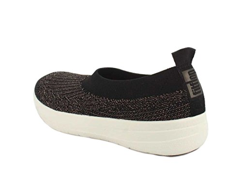 FitFlop Damen Uberknit Ballerina Walking Slip-On Schwarz / Bronze Metallic